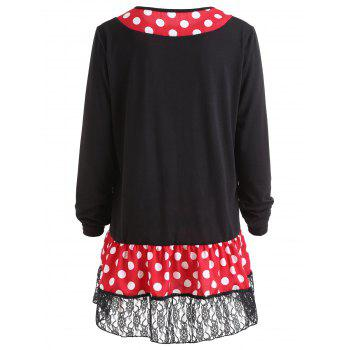 Polka Dot Lace Panel Plus Size T-shirt - BLACK 3XL