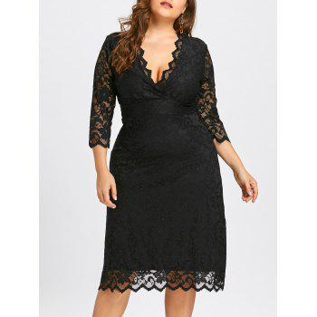 Scalloped Plus Size V Neck  Lace Dress - BLACK BLACK