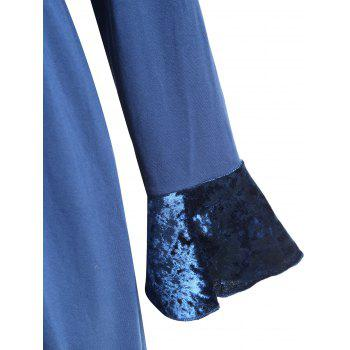 Plus Size Ruffle Butterfly Embroidered Velvet Panel Coat - BLUE 3XL