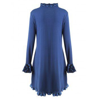Plus Size Ruffle Butterfly Embroidered Velvet Panel Coat - BLUE 5XL