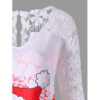 Christmas Plus Size Lace Panel Santa Claus T-shirt - RED 3XL