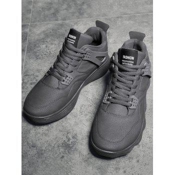 Breathable High Top Faux Leather Sneakers - GRAY 43
