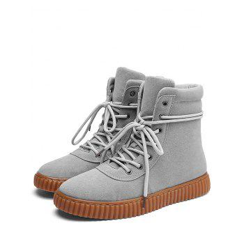 Rubber Sole Faux Suede Ankle Boots - GRAY 40