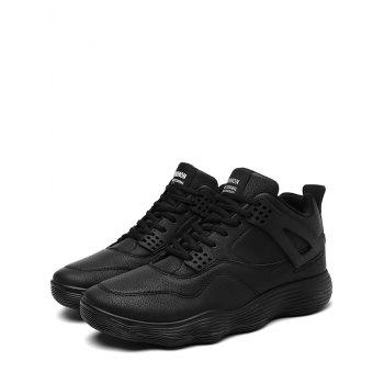 Breathable High Top Faux Leather Sneakers - BLACK 43
