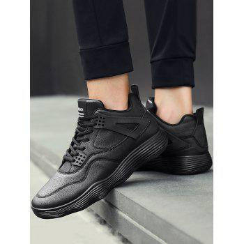 Breathable High Top Faux Leather Sneakers - BLACK 41