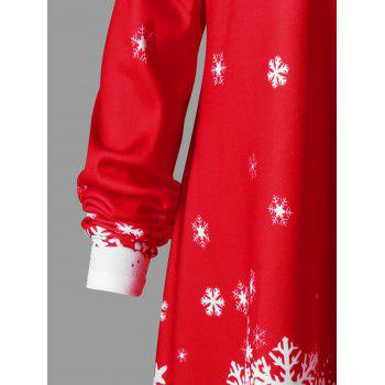 Christmas Plus Size Convertible Collar Tunic Top - RED/WHITE RED/WHITE