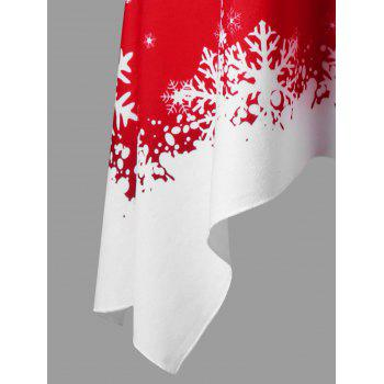 Christmas Plus Size Convertible Collar Tunic Top - RED/WHITE 2XL