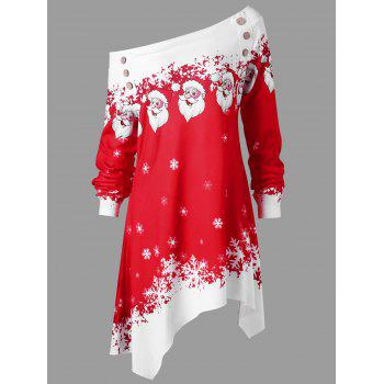 Christmas Plus Size Convertible Collar Tunic Top - RED/WHITE 3XL