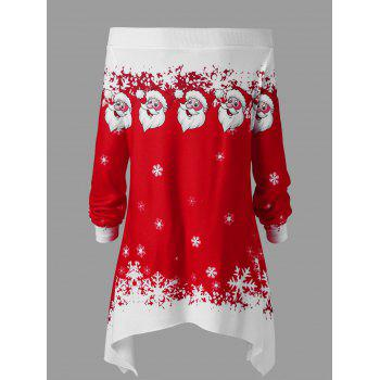 Christmas Plus Size Convertible Collar Tunic Top - RED/WHITE 4XL