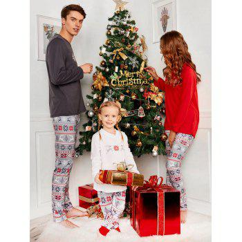 Snowflake Printed Long Sleeve Matching Family Christmas Pajama - COLORMIX MOM XL