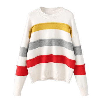 Contrast Striped Pullover Sweater - multicolor ONE SIZE