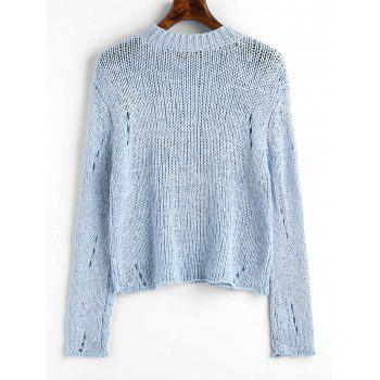 Ripped Hollow Out Pullover Sweater - LIGHT BLUE ONE SIZE