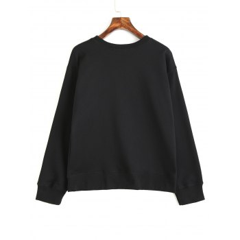 Floral Embroidered Long Sleeve Loose Sweatshirt - BLACK S