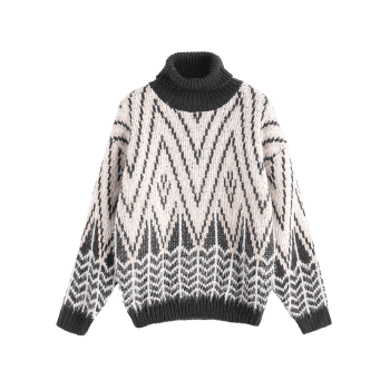 Turtleneck Textured Zig Zag Pullover Sweater - APRICOT ONE SIZE