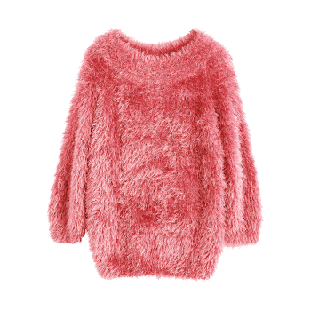 Textured Raglan Sleeve Pullover Sweater - PEACH PINK ONE SIZE