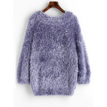 Textured Raglan Sleeve Pullover Sweater - LIGHT PURPLE ONE SIZE