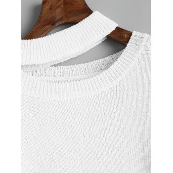 Destroyed Cutout High Low Pullover Sweater - WHITE ONE SIZE