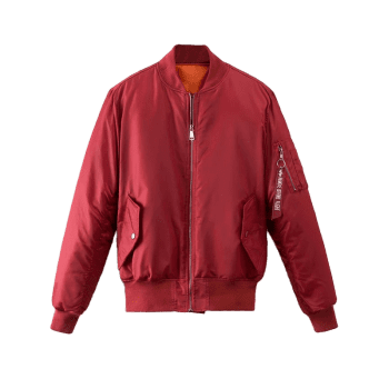 Zip Up Graphic Back Puffer Jacket - DEEP RED S
