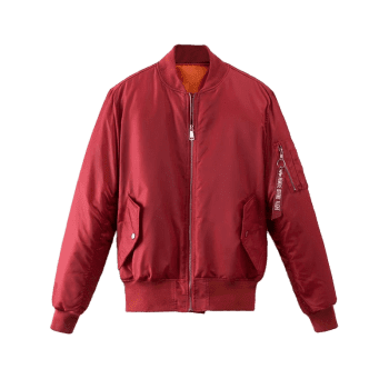 Zip Up Graphic Back Puffer Jacket - DEEP RED M