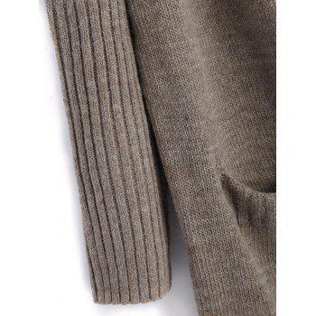 Pockets Plain Open Front Cardigan - LIGHT COFFEE ONE SIZE