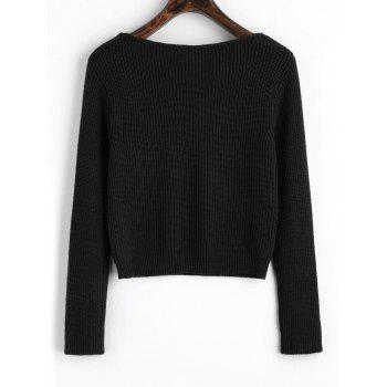 V Neck Cropped Pullover Sweater - BLACK ONE SIZE