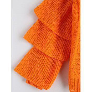 Cable Knit Layered Sleeve Pullover Sweater - ORANGE RED ONE SIZE