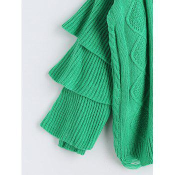 Cable Knit Layered Sleeve Pullover Sweater - GREEN ONE SIZE