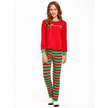 Striped Printed Matching Family Christmas Pajama Set - RED KID 6T