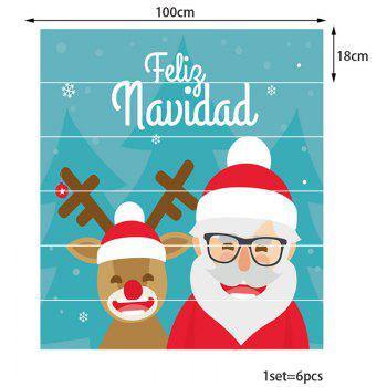 Smiling Santa Claus and Elk Pattern Home Decor Stair Stickers - COLORFUL 100*18CM*6PCS