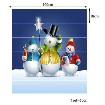 Three Snowman with Different Clothes Pattern Decorative Stair Stickers - COLORFUL 100*18CM*6PCS
