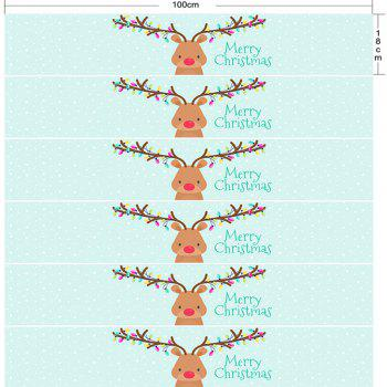 Cartoon Christmas Deer Print Decorative DIY Stair Stickers - LIGHT BLUE 100*18CM*6PCS