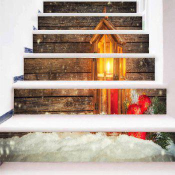 Christmas Candle Lantern Wood Grain Print DIY Stair Stickers - WOOD COLOR 100*18CM*6PCS