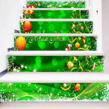 Christmas Tree Snowflake Balls Print DIY Stair Stickers - GREEN 100*18CM*6PCS