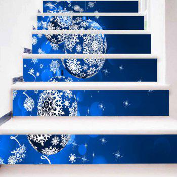 Christmas Hanging Balls Snowflake Print Decorative Stair Stickers - BLUE 100*18CM*6PCS
