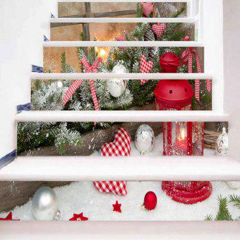 Christmas Ball Candle Lantern Heart Plant Print Stair Stickers - COLORMIX 100*18CM*6PCS