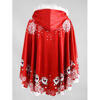 Santa Claus Printed Plus Size Velvet Cape Coat - RED ONE SIZE