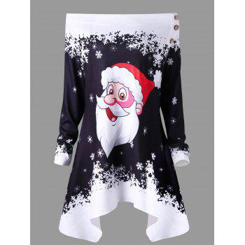 Christmas Skew Neck Santa Claus Snowflake Asymmetric Top - BLACK BLACK