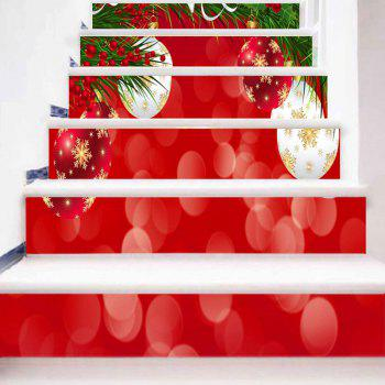 Christmas Hanging Balls Printed Decorative Stair Stickers - RED 100*18CM*6PCS