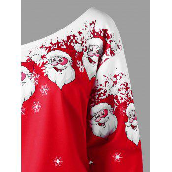 Plus Size Christmas Santa Claus Skew Collar Sweatshirt - RED/WHITE XL