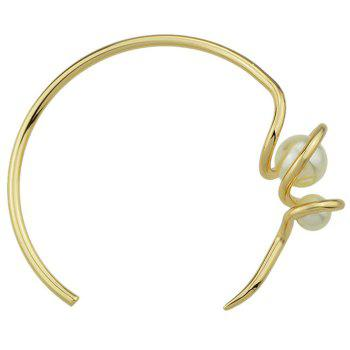 Faux Pearl Metal Twisted Cuff Bracelet - GOLDEN GOLDEN