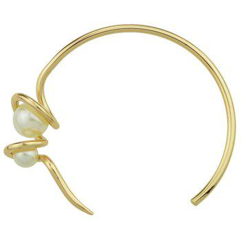 Faux Pearl Metal Twisted Cuff Bracelet - GOLDEN