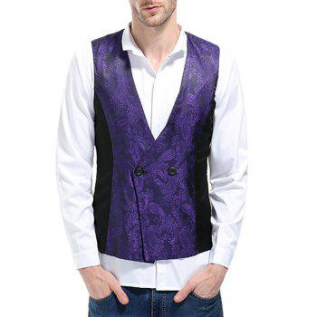 V Neck Double Breasted Paisley Waistcoat - PURPLE 2XL