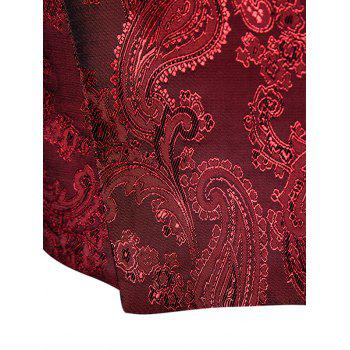 V Neck Double Breasted Paisley Waistcoat - WINE RED 2XL