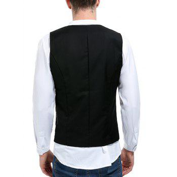 V Neck Double Breasted Paisley Waistcoat - BLACK XL