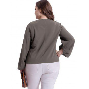 Plus Size Puff Sleeve Casual Blouse - DARK GRAY 3XL