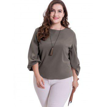 Plus Size Puff Sleeve Casual Blouse - DARK GRAY 4XL