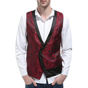 V Neck Paisley Panel Asymmetric Waistcoat - WINE RED XL