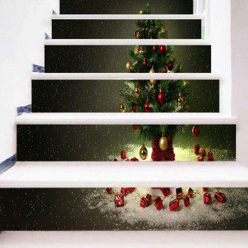 Christmas Tree Pattern DIY Home Decor Stair Stickers - DARK GRAY GREEN 100*18CM*6PCS