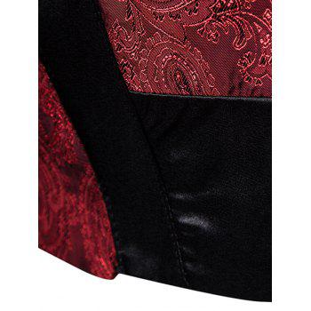 V Neck Paisley Panel Asymmetric Waistcoat - WINE RED WINE RED