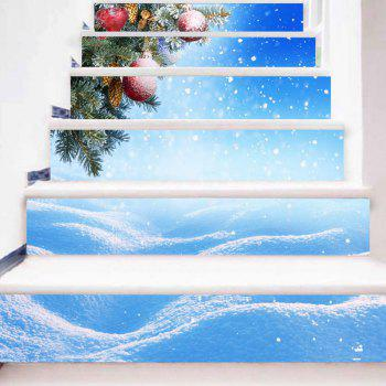 Snowy Christmas Print DIY Decorative Stair Stickers - CLOUDY 100*18CM*6PCS